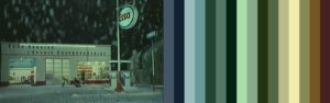 Color Palette from a shot of the Esso Station from The Umbrellas of Cherbourg